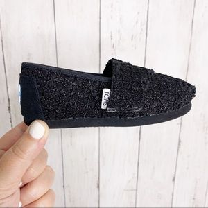 Tiny {Toms} Black Textured Lace Overlay Slip Ons